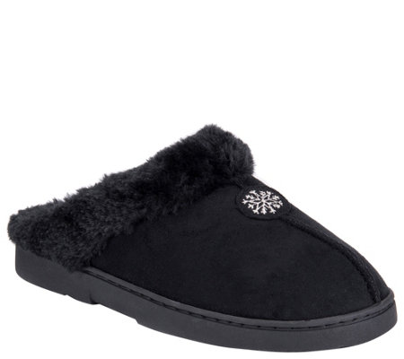 MUK LUKS Faux Suede Clog with Fur Lining