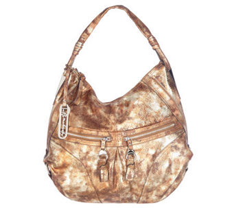 B. Makowsky Glove Leather Zip Top Slouchy Hobo with Zipper Pockets - A215066