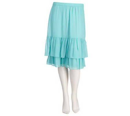 Linea by Louis Dell'Olio Pull-on Two Tier Skirt