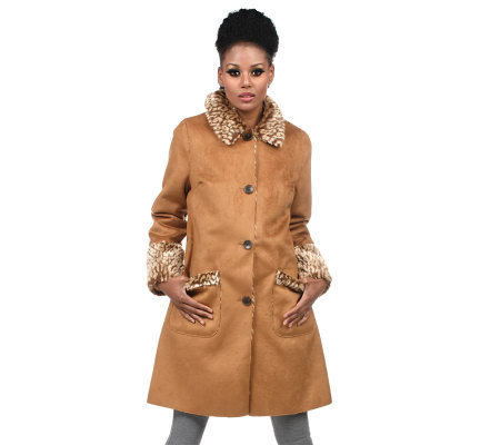 Isaac Mizrahi Live! Button Front Reversible Shearling Coat