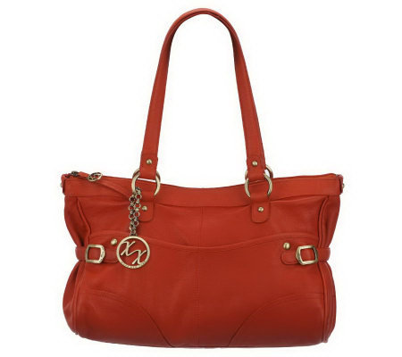 Maxx New York Nappa Leather Satchel with Pebble Leather Trim