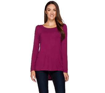 H by Halston Solid Boat Neck Long Sleeve Top with Draped Back - A225666