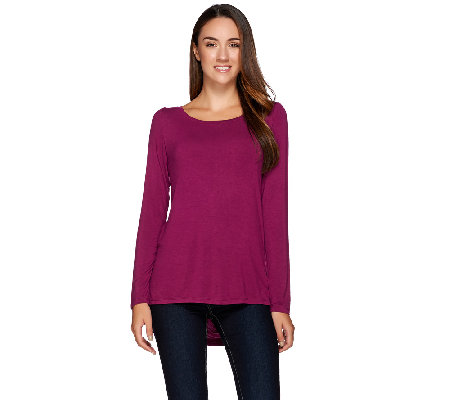 H by Halston Solid Boat Neck Long Sleeve Top with Draped Back