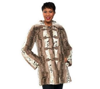 Dennis Basso Reversible Faux Fur Toggle Coat w/ Detachable Hood - A228866