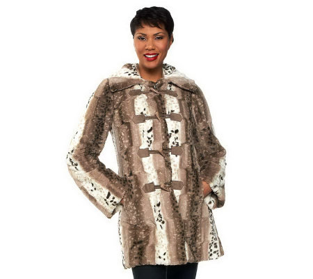 Dennis Basso Reversible Faux Fur Toggle Coat w/ Detachable Hood