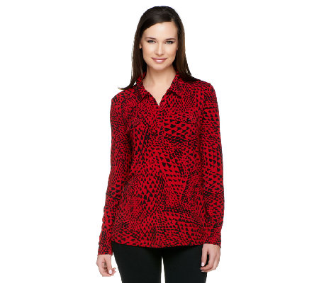 Susan Graver Liquid Knit Top with Split V-neck & Collar