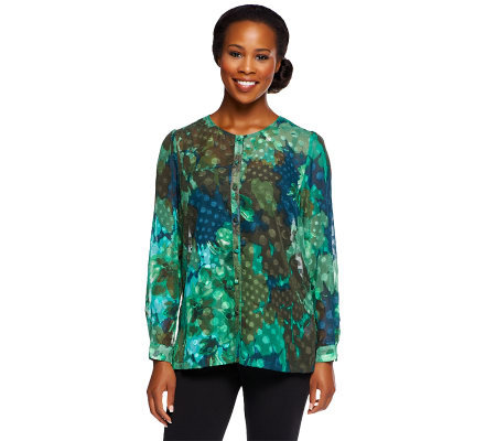 Susan Graver Printed Sheer Chiffon Clipped Dot Button Front Blouse