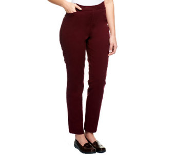 Liz Claiborne New York Regular Hepburn Slim Leg Twill Pants - A235266