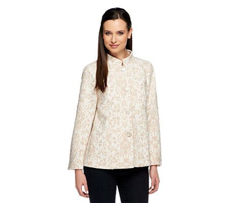 George Simonton Knit Jacquard Jacket with Fly Away Back