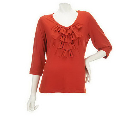 """As Is"" Susan Graver Liquid Knit 3/4 Sleeve V-neck Top with Ruffle Front"
