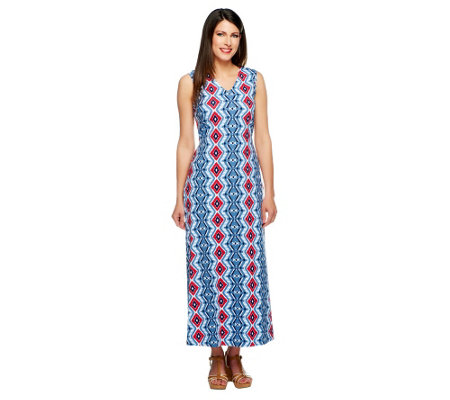 Denim & Co. Regular Sleeveless V-Neck Print Maxi Dress