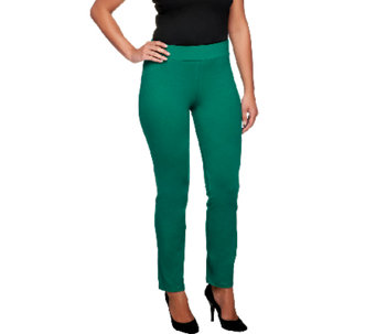 Women with Control Regular Ruched Side Waist Slim Leg Pants - A254666