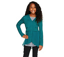 LOGO Littles by Lori Goldstein Button Front Cardigan with Chiffon Trim - A255466