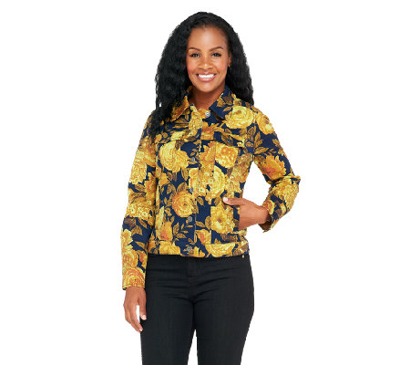 Isaac Mizrahi Live! Denim Jacket with Floral Print