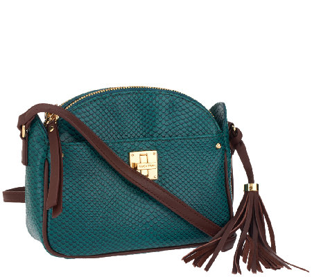 Isaac Mizrahi Live! Bridgehampton Leather Snake Crossbody