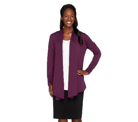 Susan Graver Premier Knit Long Sleeve Cardigan with Ruched Cuffs