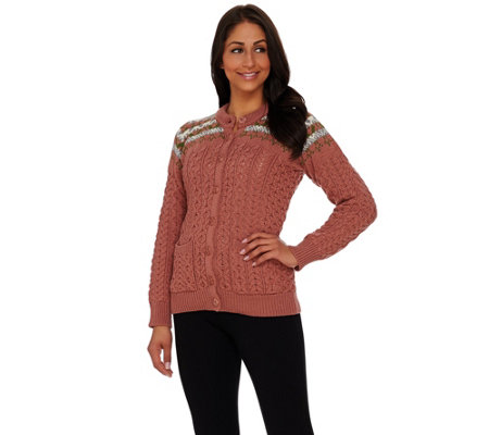 Aran Craft Merino Wool Jacquard Crew Neck Cardigan