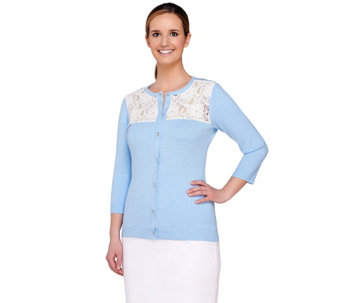 Denim & Co. Crew Neck 3/4 Sleeve Cardigan with Lace Yoke - A264766
