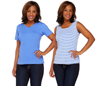 Bob Mackie's Solid Knit T-shirt and Stripe Knit Tank Set - A265366