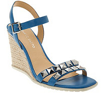 Franco Sarto Leather Espadrille Wedges w/Stud Detail -Nayla - A265566