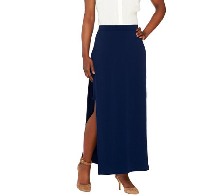 G.I.L.I. Matte Jersey Pull-On Maxi Skirt with Side Slits