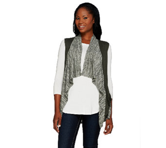 LOGO by Lori Goldstein Sweater Knit Vest with Faux Suede Trim - A266766