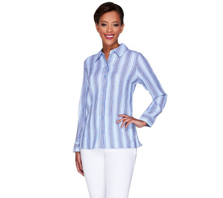 Denim & Co. Crinkle Stripe Button Front Long Sleeve Shirt