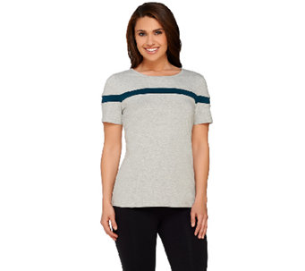 Denim & Co. Active Scoop Neck Short Sleeve Colorblock Top - A267966