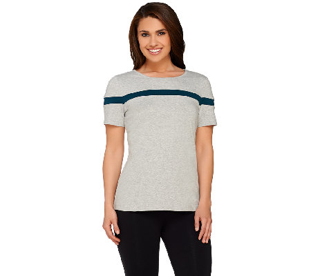 Denim & Co. Active Scoop Neck Short Sleeve Colorblock Top