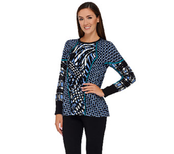 Bob Mackie's Long Sleeve Printed Pullover Sweater - A269566