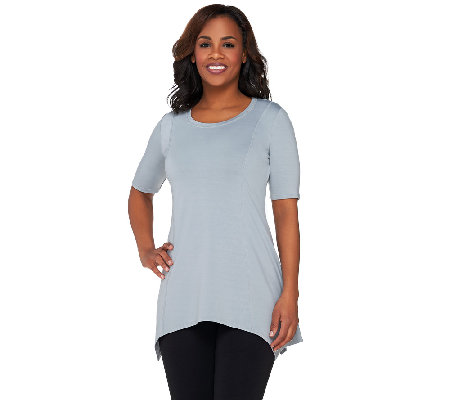 """As Is"" LOGO Lounge by Lori Goldstein French Terry Seamed Top"