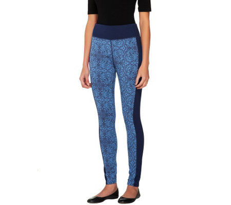 """As Is"" Denim & Co. Active Duo-Stretch Printed Leggings"