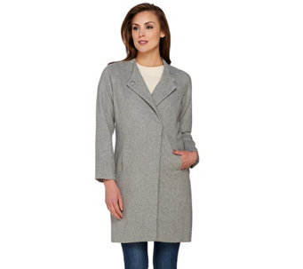 H by Halston Wool Blend Snap Front Long Sleeve Coat - A272366