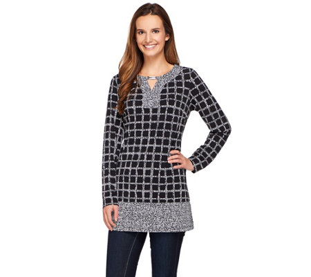 Susan Graver Printed Liquid Knit Split Neck Tunic with Trim