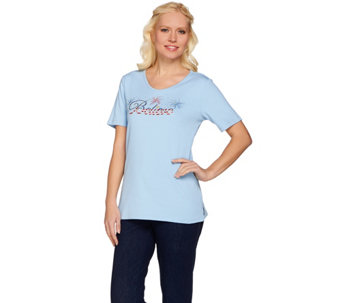 Quacker Factory Americana Believe Short Sleeve T-shirt - A273866