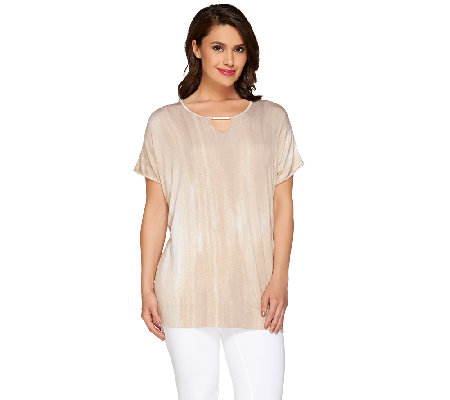 """As Is"" Lisa Rinna Collection Petite Printed Top w/ Detail"