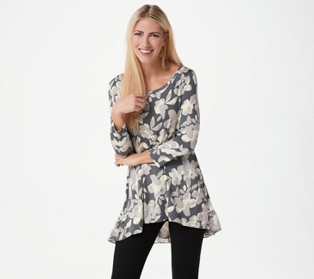 LOGO by Lori Goldstein Printed Knit Top with Hi-Low Hem and Chiffon. Back  to video
