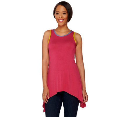 LOGO by Lori Goldstein Asymmetric Hem Knit Tank with Contrast Trim