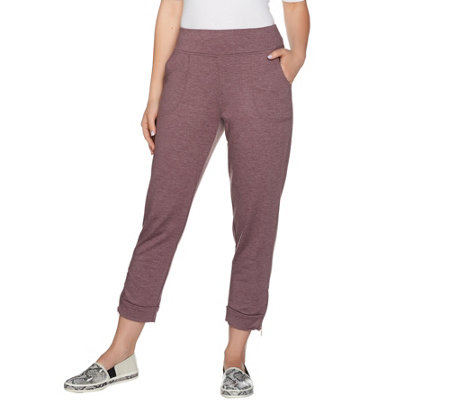 LOGO Lounge by Lori Goldstein French Terry Crop Pants w/ Zipper Detail
