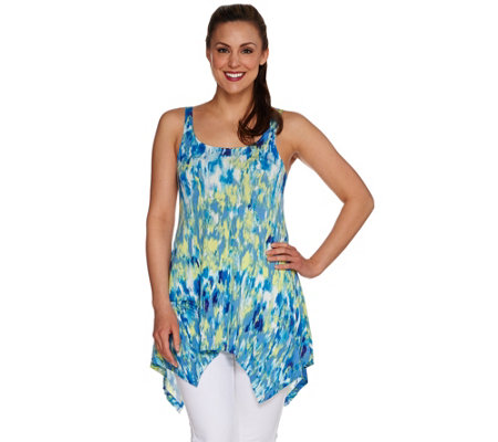 LOGO Layers by Lori Goldstein Printed Tank w/Handkerchief Hem