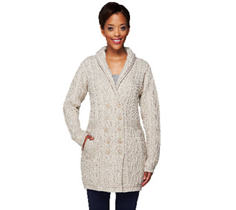 """As Is"" Aran Craft Merino Wool Double Breasted Sweater Coat - A277466"