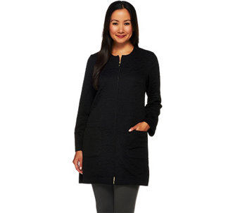 """As Is"" Susan Graver Textured Knit Zip Front Long Jacket - A277566"