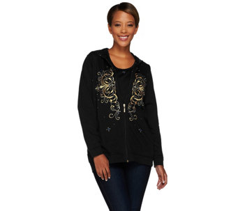 """As Is"" Quacker Factory Golden Embroidered Jacket & T-shirt Set - A278166"