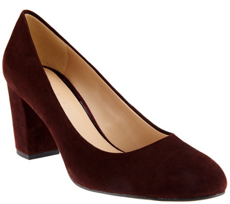 """As Is"" H by Halston Suede Block Heel Pumps - Lenna"