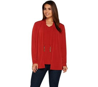 Susan Graver Liquid Knit Long Sleeve Cardigan Tank Set w/ Tassels - A278866
