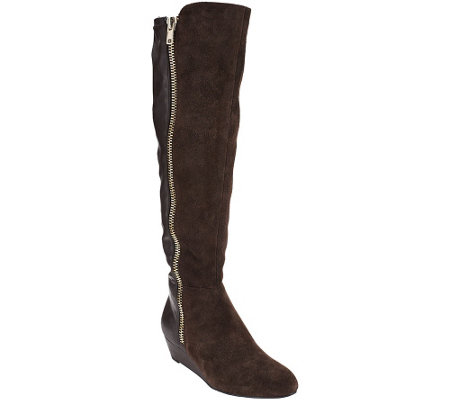 """As Is"" Isaac Mizrahi Live! Suede & Stretch Wedge Boots with Zipper"