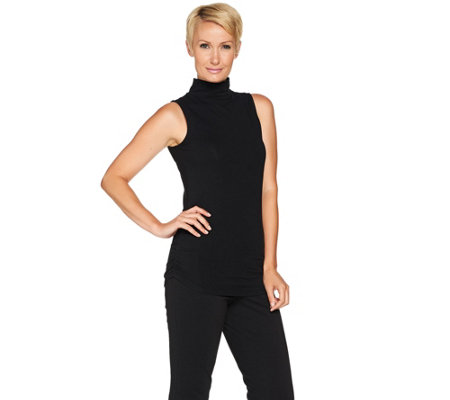 Kathleen Kirkwood Mock Turtleneck Side Ruched Tank Top