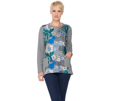 LOGO Lounge by Lori Goldstein French Terry Top with Crochet Front