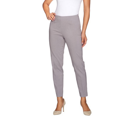 """As Is"" Susan Graver Uptown Stretch Side Zip Slim Leg Ankle Pants"