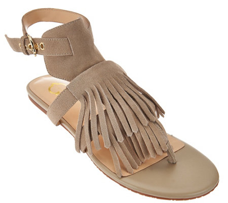 """As Is"" C. Wonder Suede Sandals with Fringe - Jessa"